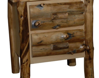 Rustic Aspen Log NIGHTSTAND/End Table - 2 Drawers - Handmade - Custom - Amish Made in USA