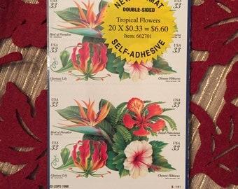 Tropical Flowers (twenty 33-cent postage stamps)