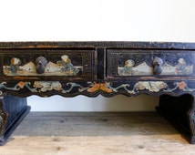 Antique Black Lacquer Tea Table, Hand Painted Motifs, Vintage Chinese Tea Table, Coffee Table