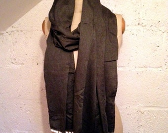 SALE - Charcoal Grey 100% Cotton Scarf with White Bobble Trim