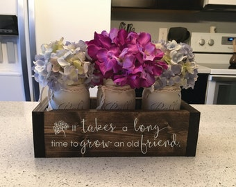 """Unique Friendship Gift, Gift for Friend, Long Distance Friendship """"Custom Planter Box w/ 3 Distressed Mason Jars """"Wood Engraved"""""""