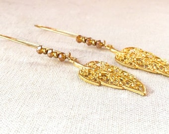 Long Gold Leaf Earrings, feather long earrings elegant crystal earrings gold filigree earrings dangle drop earrings simple modern  jewelry