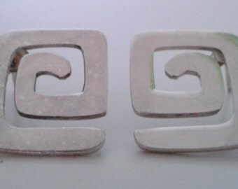 Vintage Sterling Silver 925 Mod Spiral Square Post Earrings