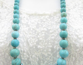 Turquoise Necklace, Gemstone Necklace, Turquoise Jewelry, Beaded Necklace, Gift