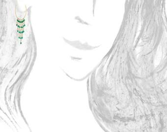 SALE : - 20% Chandelier hoop gold earrings, green onyx beads, boho hoop earrings, beaded hoop earrings,