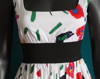 Style pinup dress printed stain multicolor paint
