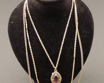 18 ct gold plated metal necklace with pendant, signed Goldette