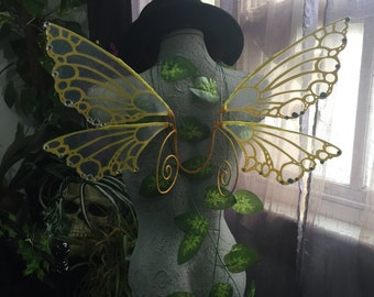 Yellow Glitterless Pixie Wings with Curls