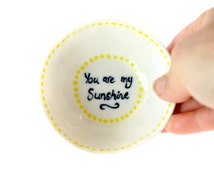 Hand painted 'Sunshine' porcelain ceramic bowl - ceramics and pottery