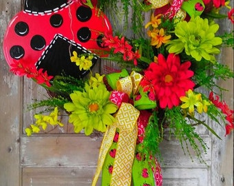 Lady Bug Grapevine Wreath, Summer Wreath, Front Door Wreath, Everyday Wreath