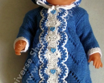 OOAK Hand knitted Blue and White Hat and cover for Baby boy  dolls 16-17 inch / 40-43 cm such as Baby born,reborn.
