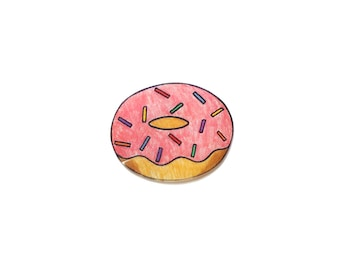 Donut brooch, shrinky dink, pin, accessory, gift for her