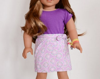 Floral Pleated Sarong Skirt for American Girl dolls - 18 Inch Doll Clothes - American Girl Doll Clothes -
