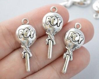 5 Pcs Lollipop Charms Antique Silver Tone 31x13mm - YD0943