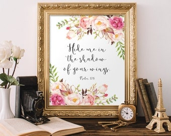 Printable art, Hide me in the shadow of your wings Psalm 17:8 Bible Verse Print Christian Nursery Decor Scripture Printable