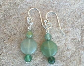 Pretty green drop earrings, aventurine earrings, gemstones earrings, silver dangle earrings, sterling silver earrings, gift for her