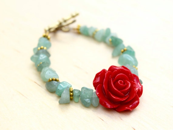 Red Rose Bohemian Bracelet with Light Green Natural Stones and