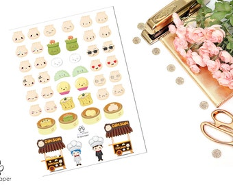 Dim Sum Dumpling Shu Mai Decorative Planner Stickers