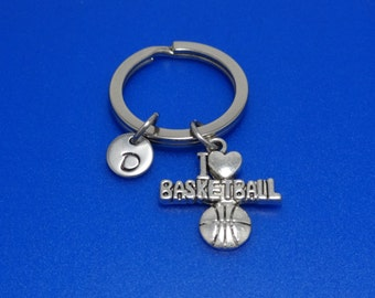 Basketball Keychain, I love basketball, Basketball fans, Sports, Gift for basketball player, Basketball Coach, Personalised, Team, Customise