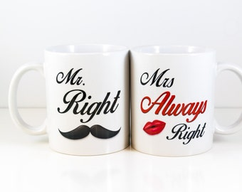 Mr Right Mrs Always Right Mug Set   for wife-Gift for husband   Wedding gift   Wedding Mr mug   Mrs mug    Cuevex Mugs