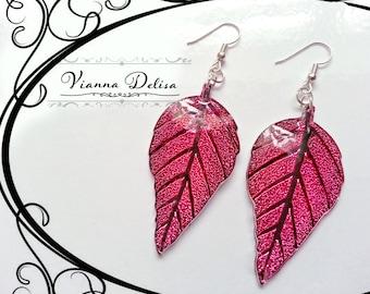 Leaf Earrings - Acrylic - Resin Leaf Earrings - Silver plated - Earrings