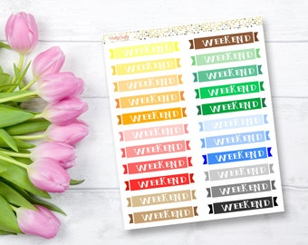 Weekend banner planner stickers | Perfect for the Erin Condren vertical planner | Functional stickers | Weekend stickers