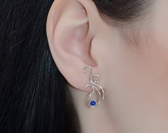 Sterling Silver STUD EARRINGS // Tiny Silver 3mm Lapis Lazuli Ear Studs - Cartilage Earring - Helix Earring - Cartilage Stud - Conch Jewelry