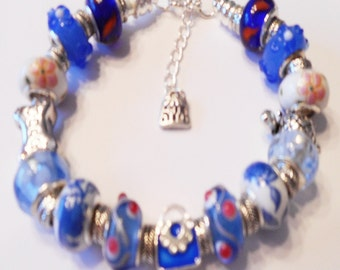 European Style Animal Friends Charms Bracelet Blue Purse Theme Murano Lampwork Glass Beads, Birthday, Anniversary, Holiday, Ship from USA