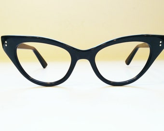 Vintage 1950's Frame France Shiny Black Cateye Eyeglass Frames, New Old Stock, Hand Made