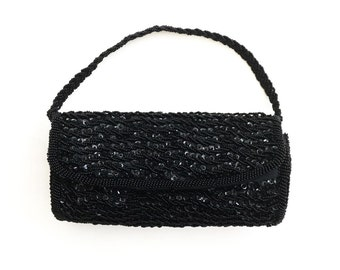 Vintage Black Beaded and Sequined Richere by Walborg Evening Bag