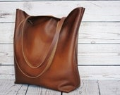 Cognac leather tote, real leather, shopper, leather bag