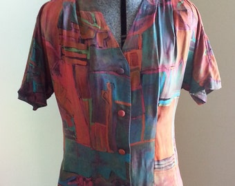 Multi-colored Graphic Floral Print Short Sleeves Pleats Lightweight Rayon Shirt Top Blouse