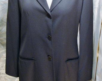 Clifford Wills Dark Gray Tailored Wool Gabardine 3/4 Length Coat Size 14 Vintage New Condition