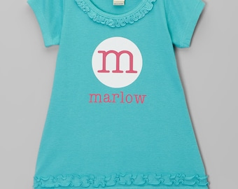 Personalized Dress.  Cute Initial Dress.  Circle Name Dress.  Infant, Toddler & Girls.  LOTS OF COLORS