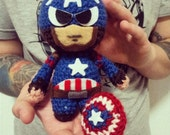 Captain America Civil War  toy in a mask and without a mask,  action figure, Marvel Comics,amigurumi,Handmade, toys,superhero