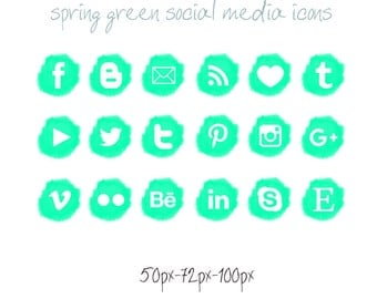 Spring Green Social Media icons - pompon - Cute Blogger Wordpress Blog Buttons PNG