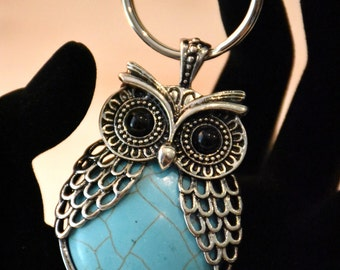 Owl Keychain, Owl Key Chain, Cute Keychain, Cute Key Chain, Decorative Keychain, Animal Keychain, Owl, Turquoise Owl, Silver Keychain