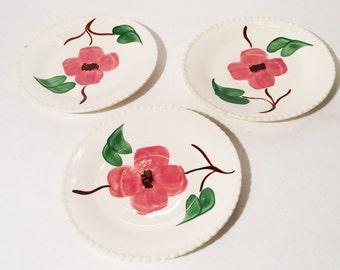 Vintage Blue Ridge Pink Dogwood Saucers, Set of 3, Oakcreek Dogwood, Vintage Dogwood Plates
