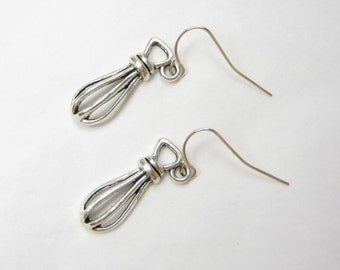 HAND WHISK Earrings, 925 Silver Dangles, Old Fashion - Kitchen - Cooking Utensil, 3D Kitchen Jewelry, Gift Under 10, 3 Petunia Place