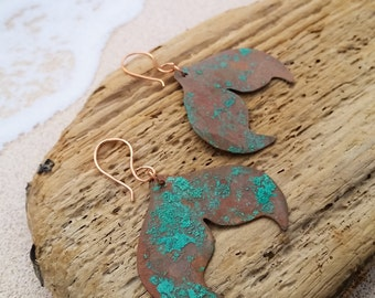 Mermaid Earrings - Copper Patina Mermaid Tail - Turquoise Colored - Salvaged Copper Materials - Nautical All Natural Patina - Maine Jewelry