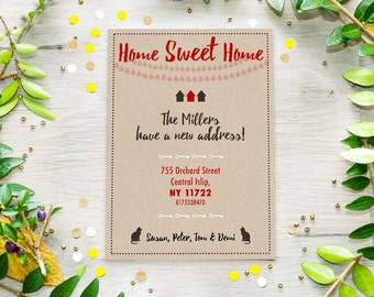 New Address Announcement Cards, Moving Announcement, New Home Printable Cards, Change of Address Printable