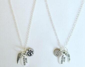 2 Best Friend initials Necklace, Monogram necklace, Angel wing Necklaces, Best friends, BFF necklace, friendship necklace