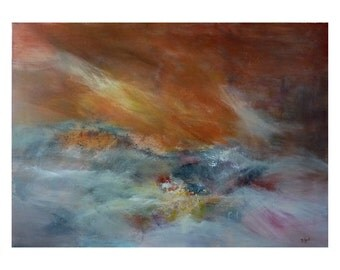 Coppery abstract painting. Contemporary painting. Original bright painting. Modern Landscape painting. Artwork fine art. Lyrical abstraction