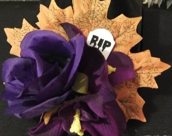 Gruesome Gravestone Halloween Hair Flower - Rockabilly/Psychobilly/Gothabilly/Pinup -