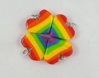 Rainbow Heart Polymer Clay Charm