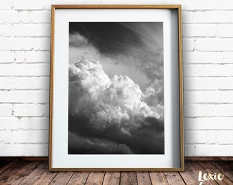 Cloud Print, Cloud Photo, Sky Print, Raincloud, Black and White Print, Scenery, Printable Art, Moody Landscape, Landscape Photo, Dramatic,