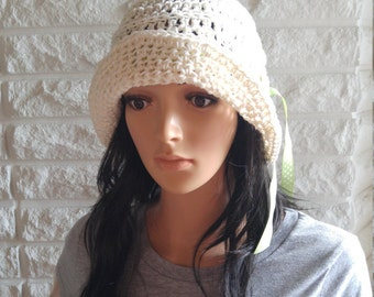 CLEARANCE Cotton crochet women's summer hat, beach hat, sun visor in cream with ribbon, panama hat, gifts, accessories, spring and summer