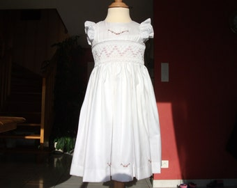 girl dress, white cotton dress, hand embroidered, 4 year old girl dress, 6year old girl dress, 8 year old girl dress, 10 year old girl dress