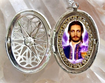 Saint Germain The Ascended Master of the Violet Flame Seventh Ray Locket Necklace Catholic Christian Religious Jewelry Medal Pendant