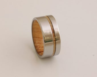 Titanium and Spalted Maple Rings // Mens Wood Rings //wood Wedding Band //Men's wedding Band //metal wood jewelry